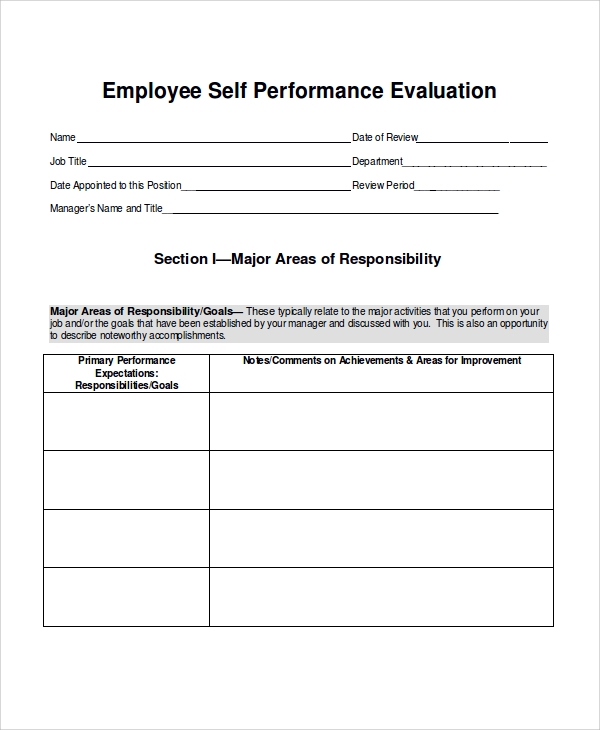 employee work performance evaluation