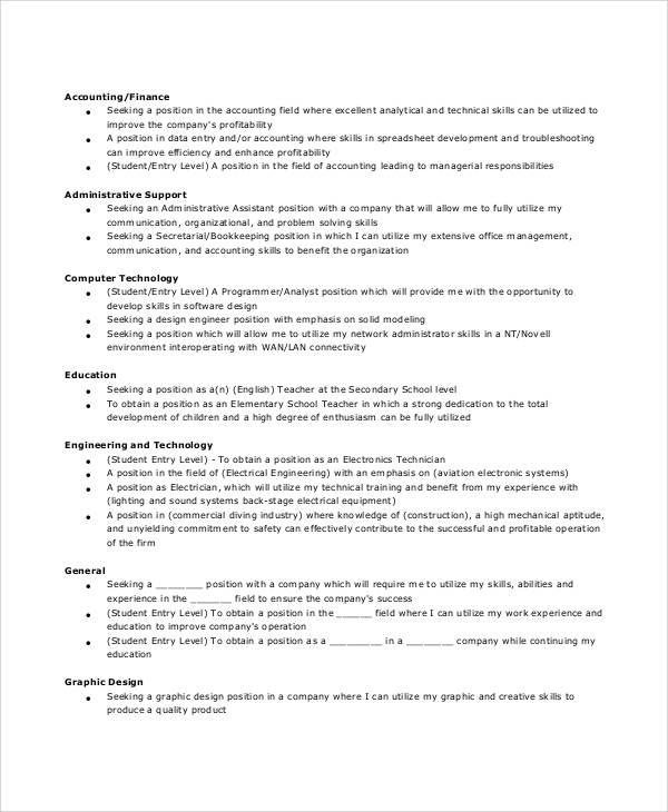 Sample General Resume Objective   Documents In Pdf