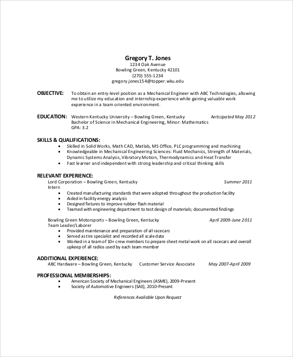 general resume objectives free doc graduate student