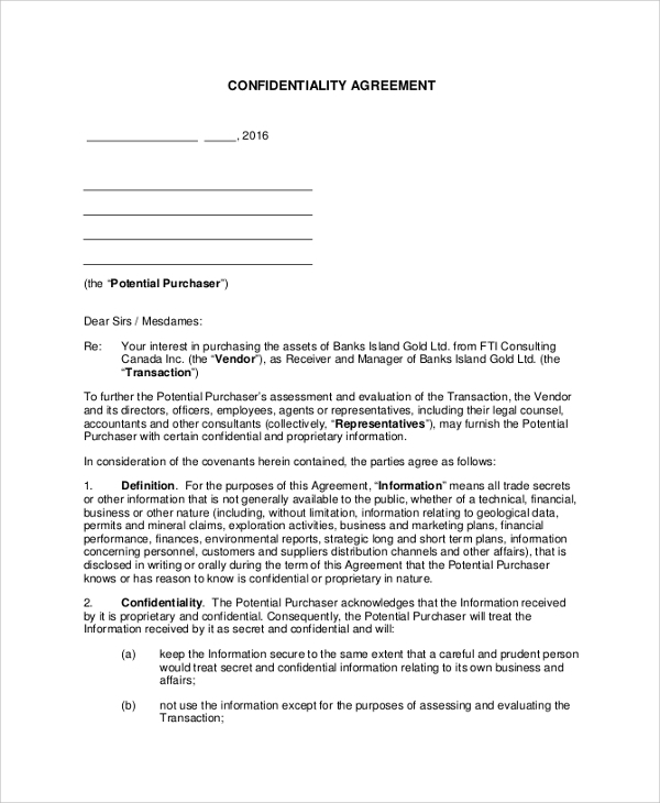 Sample Vendor Confidentiality Agreement   Documents In Pdf Word