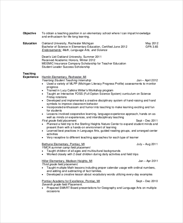 teacher resume objective examples - Education Resume Objectives