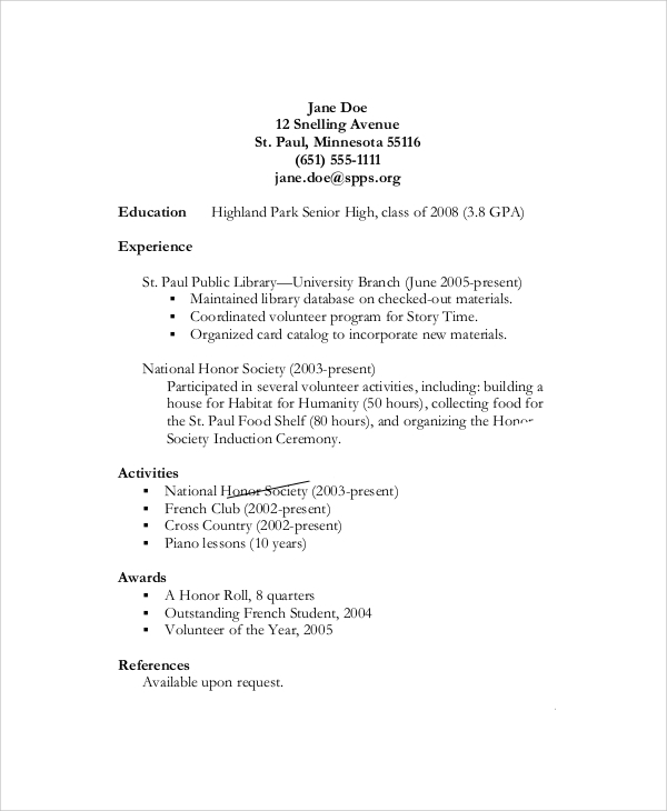 high school resume objective examples - Samples Of Resume Pdf