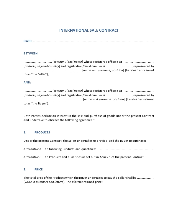 Sample Sales Contract - 7+ Documents In Pdf, Word