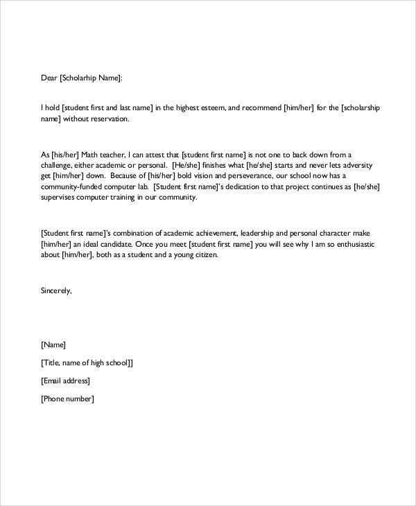 FREE 7+ Sample Recommendation Letter Formats in PDF | MS Word