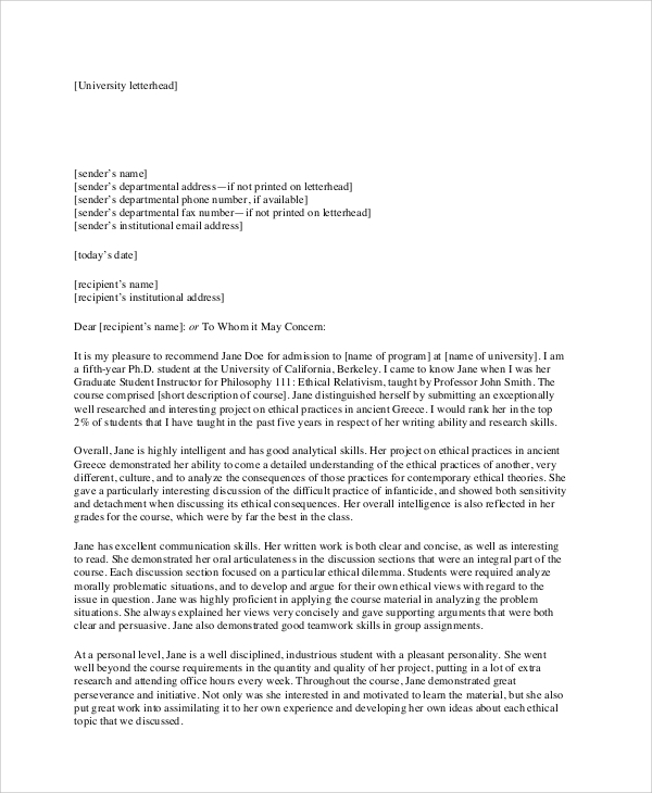 Sample Recommendation Letter Format   Documents In Pdf Word