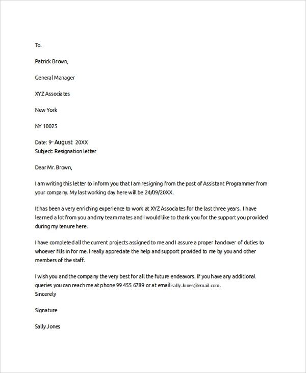 example of resignation letter 2 weeks notice