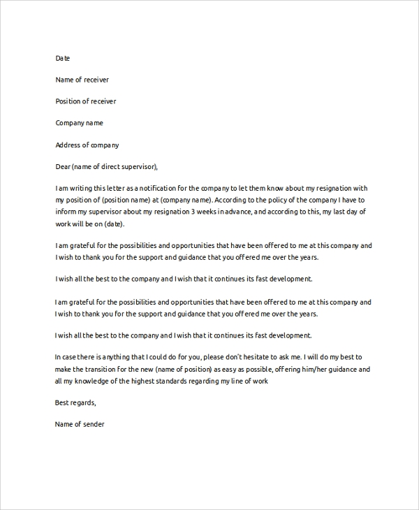 Resignation Letter Example   Samples In Pdf Word