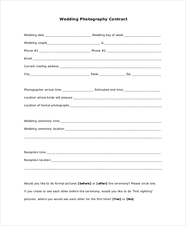 wedding contract for photographers