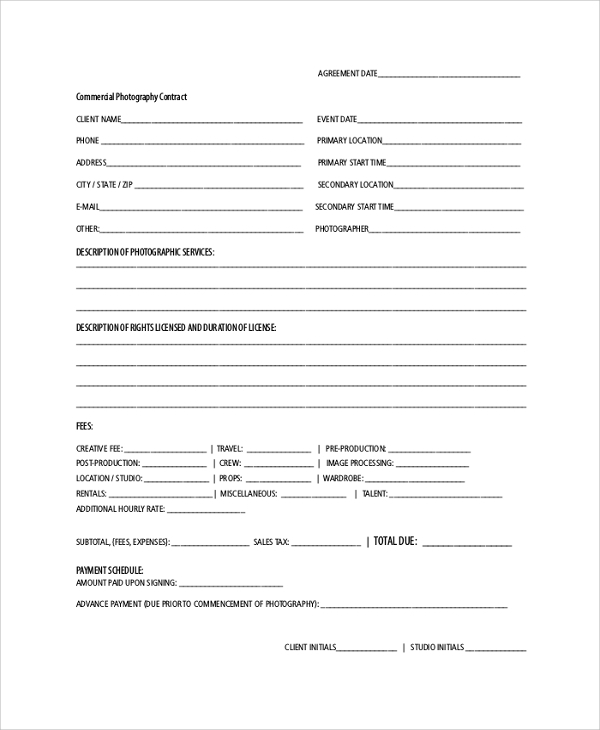 Sample Photography Contract   Documents In Pdf Word
