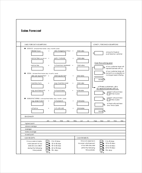 FREE 6+ Sample Sales Forecast Templates in PDF | MS Word