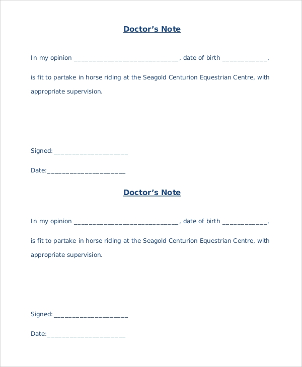 Doctor Notes Template 4 Blank Doctors Note