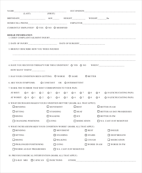 Sample Physical Assessment Form   Documents In Pdf