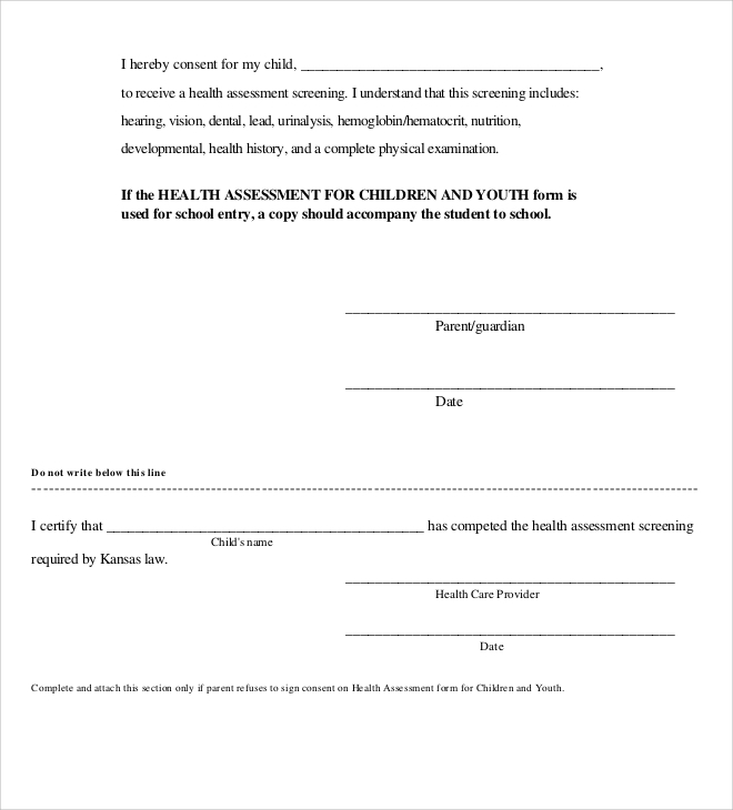 physical health assessment form