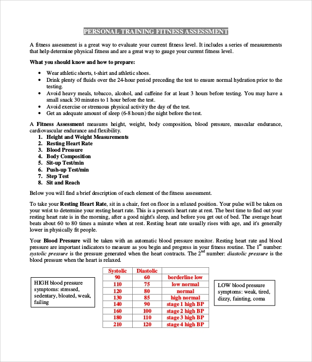 Sample Physical Assessment Form 7 Documents In PDF – Fitness Assessment Form