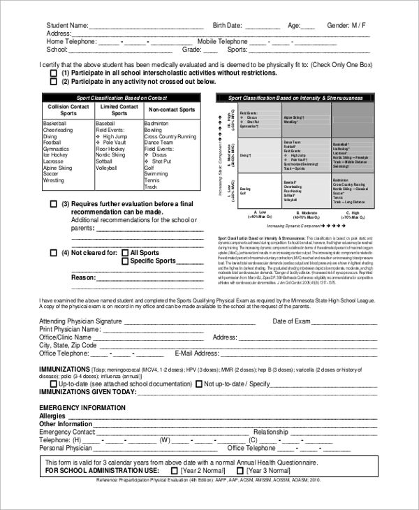 8 sample physical assessment forms sample templates
