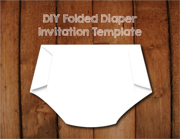 folded diaper invitation diaper shaped