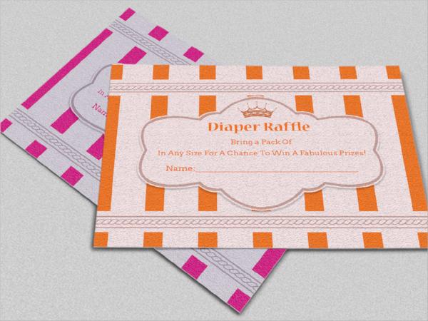 sample crown diaper raffle card