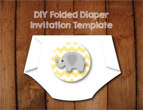 diy pattern diaper invitation