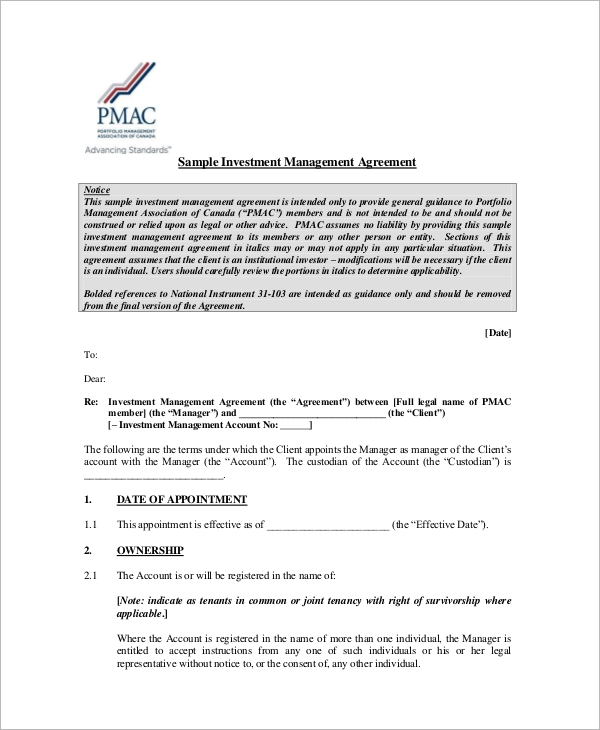 7 Sample Investment Management Agreements Sample Templates