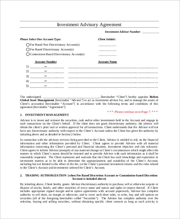 investment management agreement sample