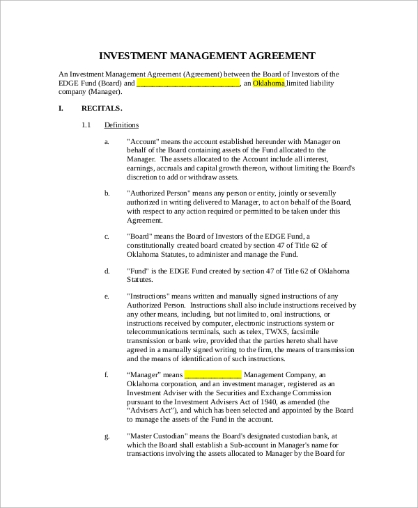 Sample Investment Management Agreement   Documents In Pdf