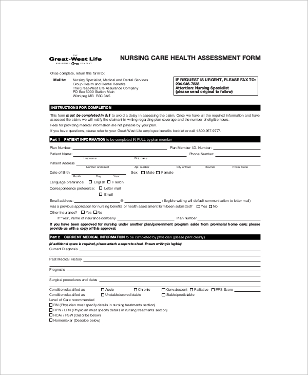 Sample Nursing Assessment Form   Documents In Pdf