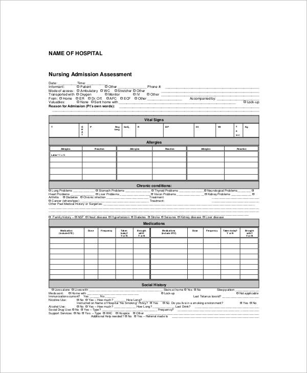 nursing admission assessment form