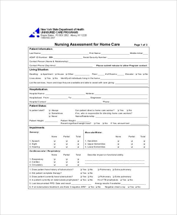 nursing assessment home care form