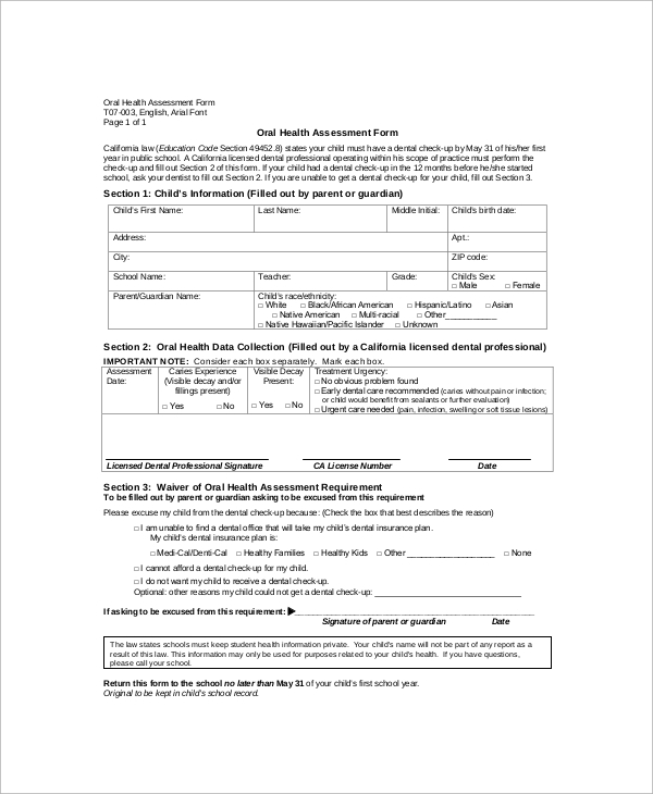 nursing oral assessment form