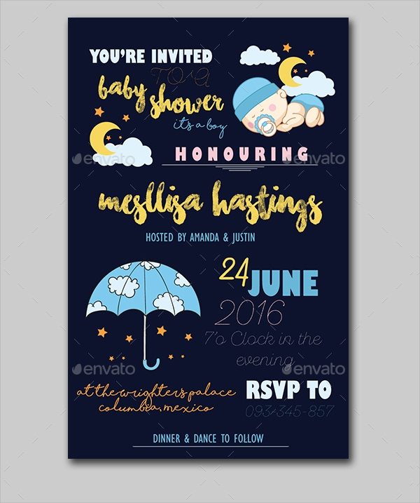 dreamy baby shower invitation