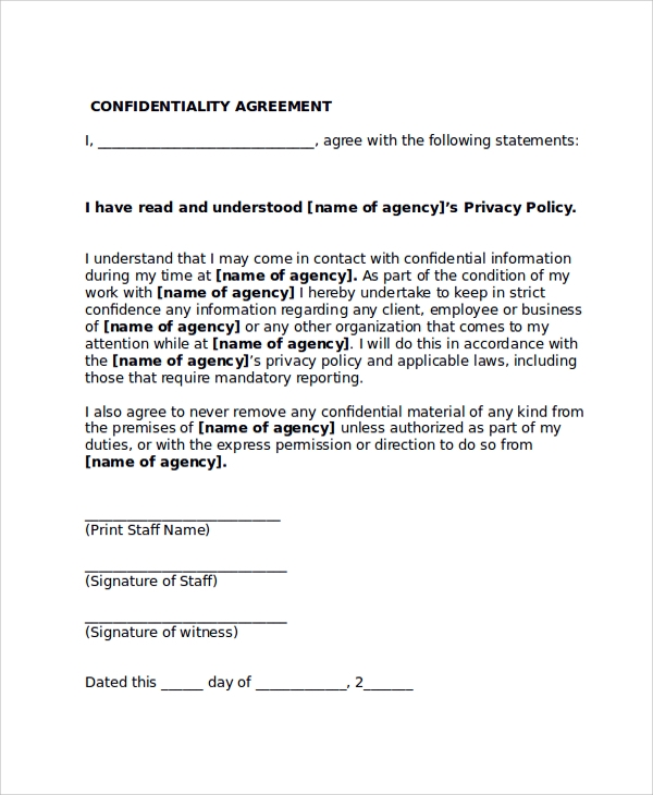 Sample Confidentiality Agreement Form   Documents In Pdf Word