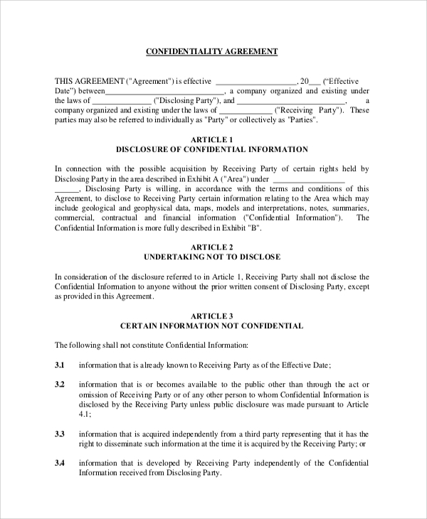 aipn confidentiality agreement model form