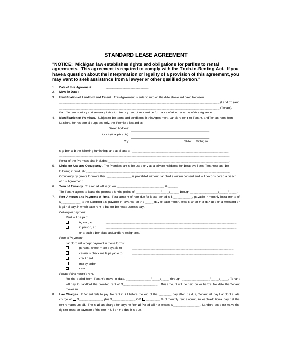 Standard House Rental Contract. Sample House Rental Contract   6  Documents in Word  PDF