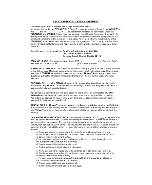 house rental lease contract
