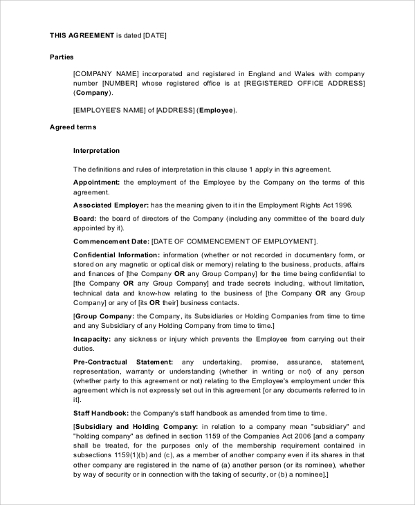 Temporary Employment Contract Free Download Job Contract Template