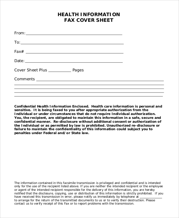 health information fax blank cover sheet