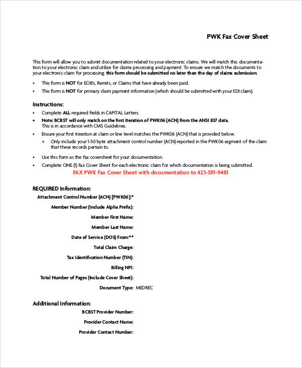 modern blank fax cover sheet