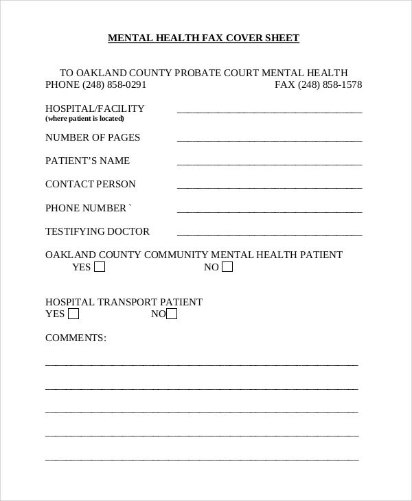 mental health blank fax cover sheet