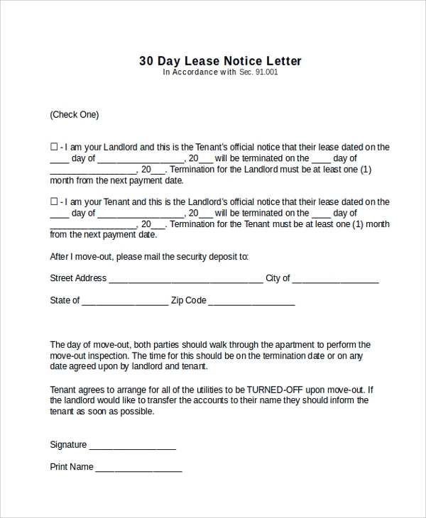 11 sample 30 day notice letters sample templates for 30 day move out notice template