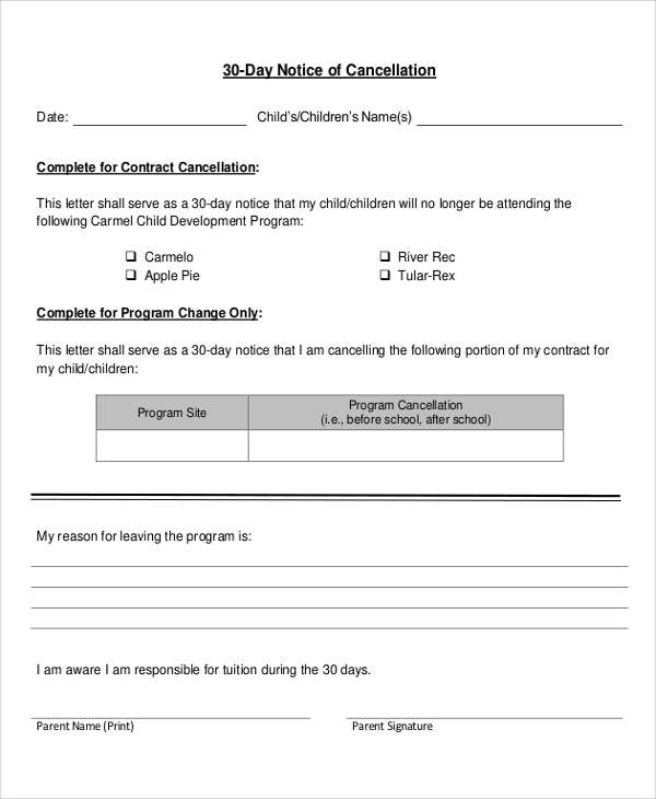 Sample  Day Notice Letter   Documents In Pdf Word