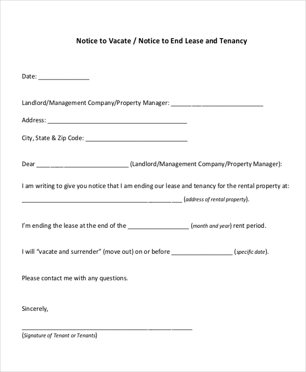 30 Day Notice Letter To End Lease And Tenancy