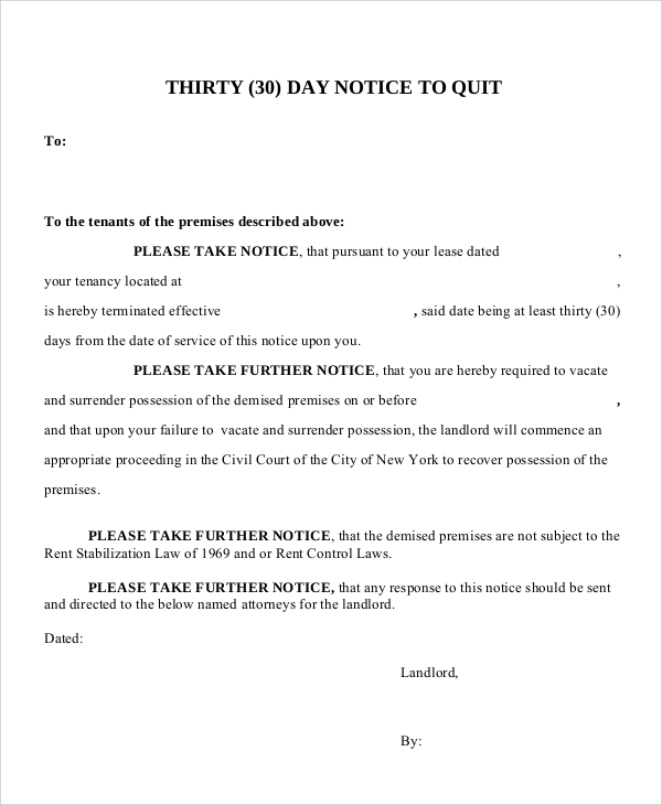 Sample 30 Day Notice Letter - 7+ Documents In PDF, WORD