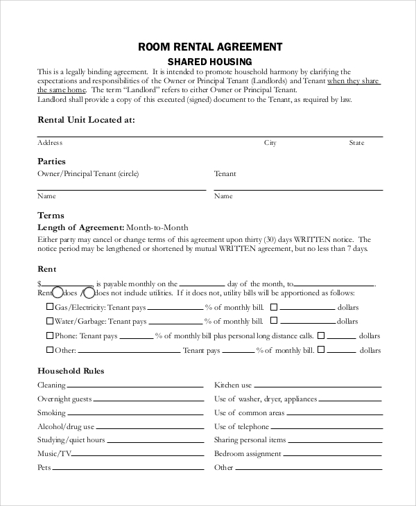 Sample Rental Agreement Contract 6 Documents in Word PDF – Sample Rental Agreement Word Document