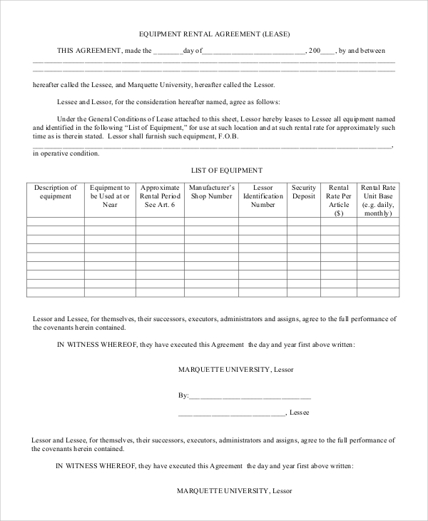 Sample Rental Agreement Contract 6 Documents in Word PDF – Equipment Rental Agreement Sample