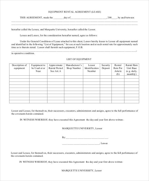 equipment rental agreement contract
