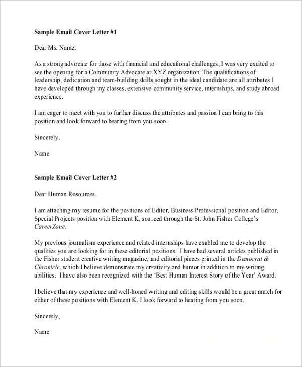 email cover letter sample 7 sample resume cover letter formats sample templates 21473