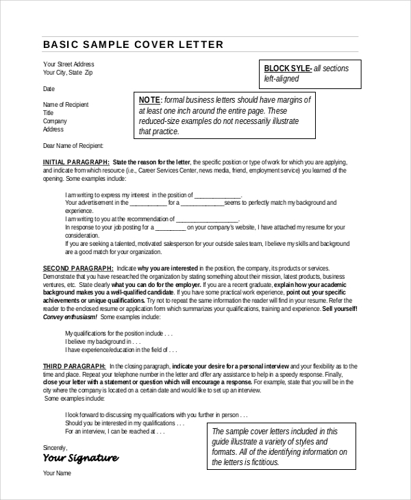 business resume cover letter format