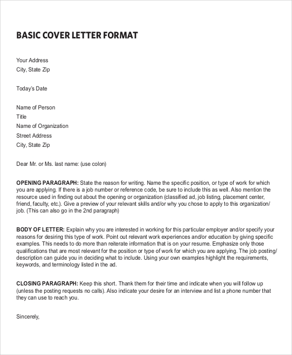 Basic Resume Cover Letter