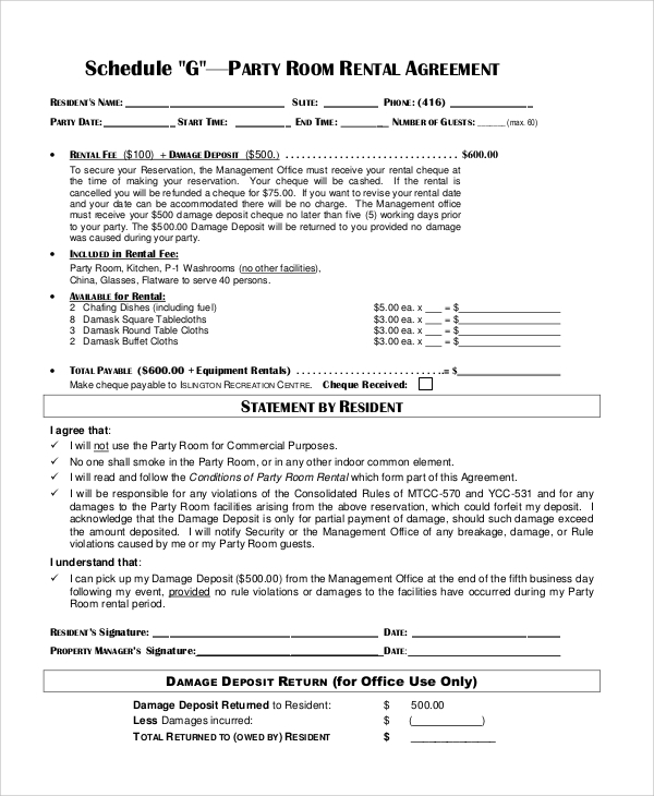 Sample Room Rental Contract - 6+ Documents in PDF