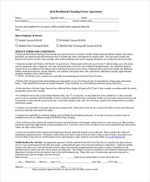 Sample Residential Service Contract   Documents In Pdf